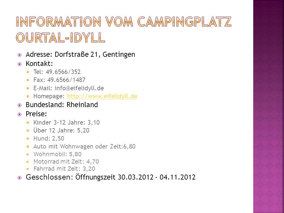 Information vom Campingplatz Ourtal-Idyll