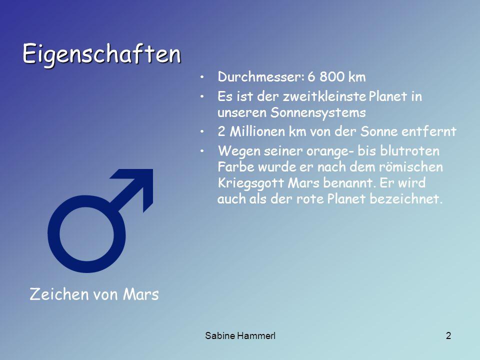 Eigenschaften Zeichen von Mars Durchmesser: 6 800 km