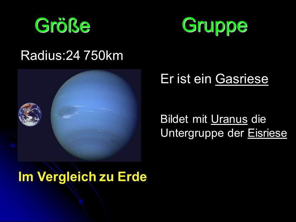 Größe Gruppe Radius:24 750km Er ist ein Gasriese Im Vergleich zu Erde
