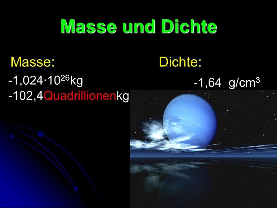 Masse und Dichte Masse: Dichte: -1,024·1026kg -1,64 g/cm3