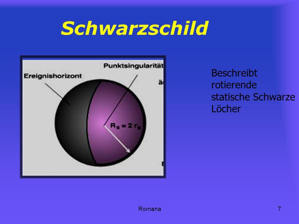 Schwarzschild Beschreibt rotierende statische Schwarze Löcher Romana