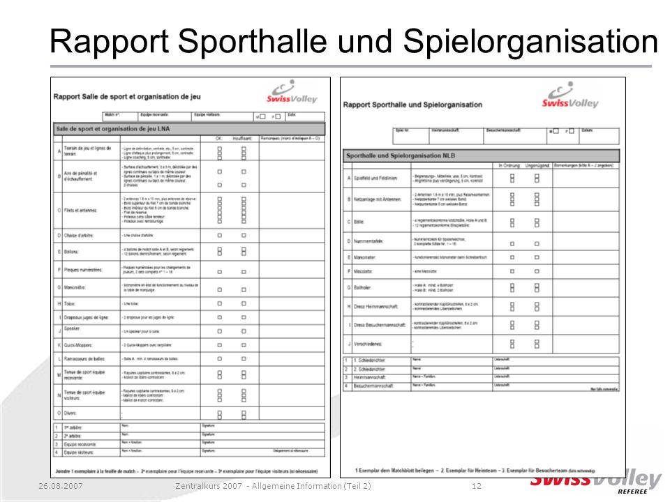 Rapport Sporthalle und Spielorganisation