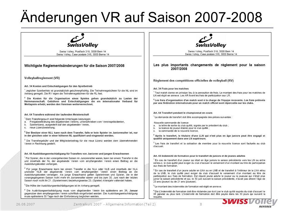 Änderungen VR auf Saison 2007-2008