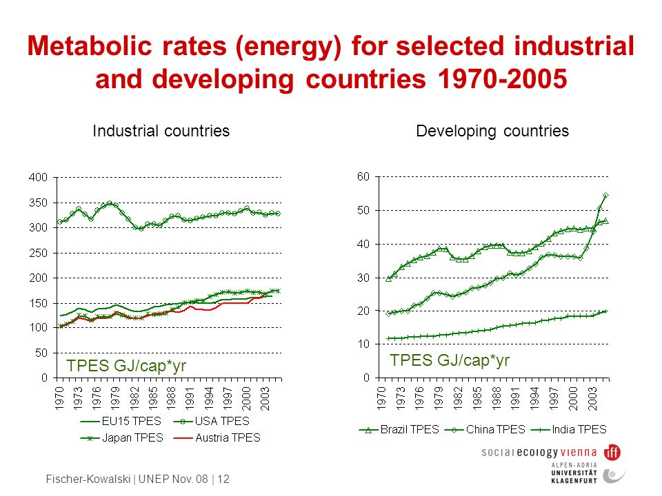 Metabolic rates (energy) for selected industrial and developing countries 1970-2005