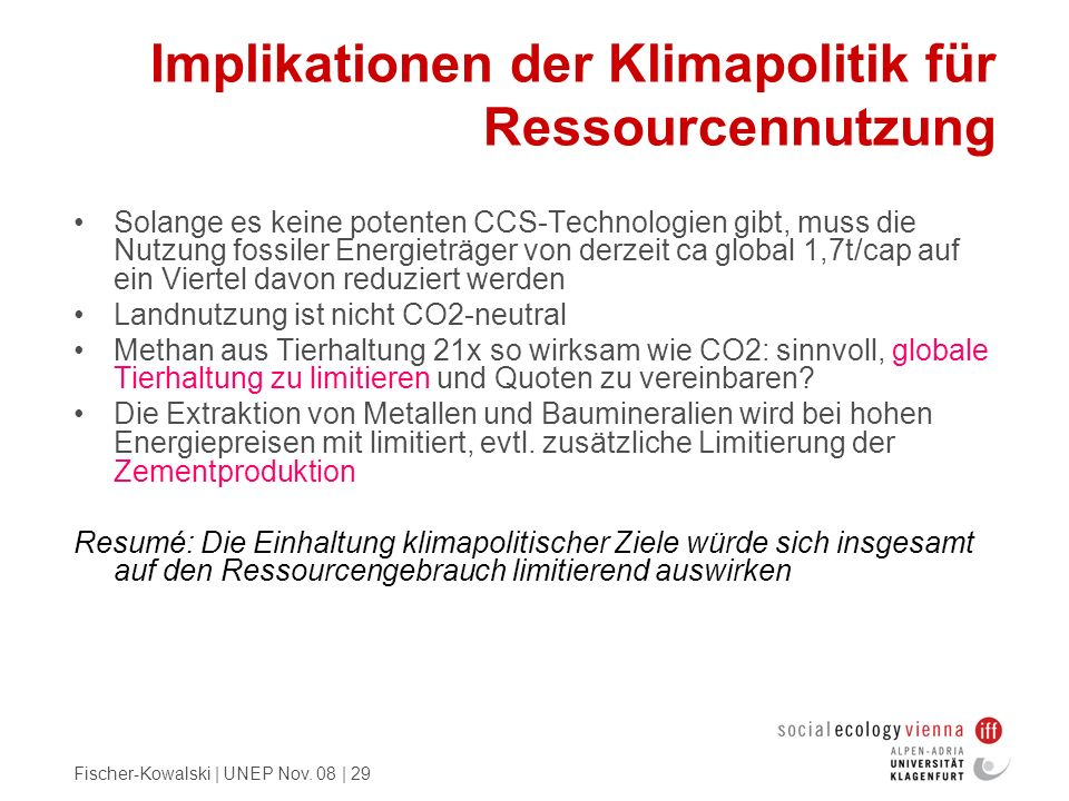 Implikationen der Klimapolitik für Ressourcennutzung