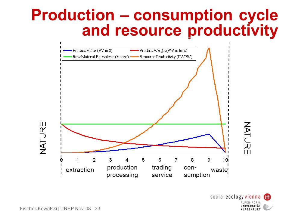 Production – consumption cycle and resource productivity