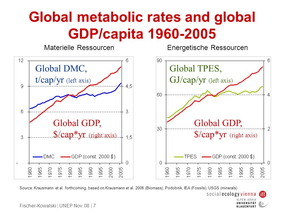 Global metabolic rates and global GDP/capita 1960-2005