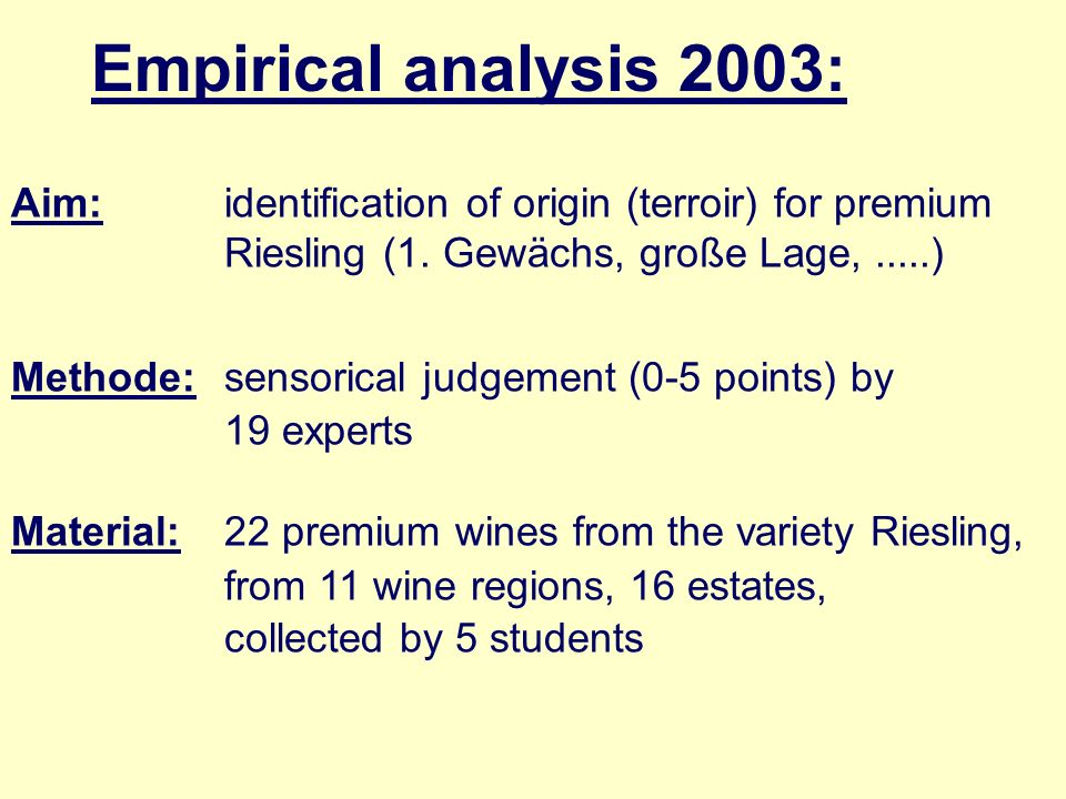Empirical analysis 2003: Aim: identification of origin (terroir) for premium Riesling (1. Gewächs, große Lage, .....)