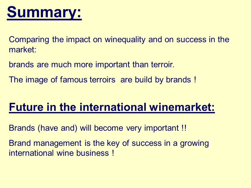 Summary: Future in the international winemarket: