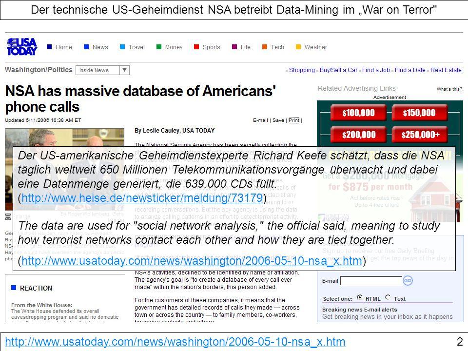"""Der technische US-Geheimdienst NSA betreibt Data-Mining im """"War on Terror"""