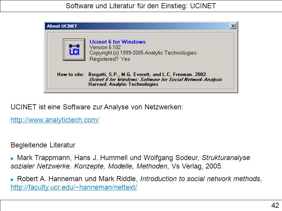 Software und Literatur für den Einstieg: UCINET