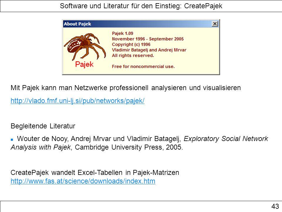 Software und Literatur für den Einstieg: CreatePajek
