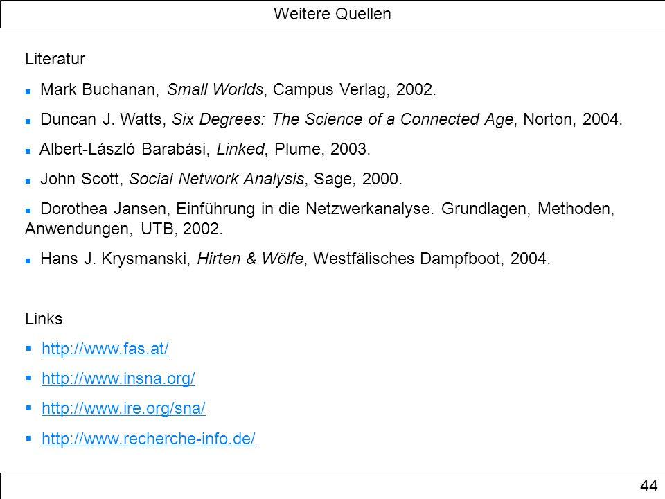 Weitere Quellen Literatur. Mark Buchanan, Small Worlds, Campus Verlag, 2002.