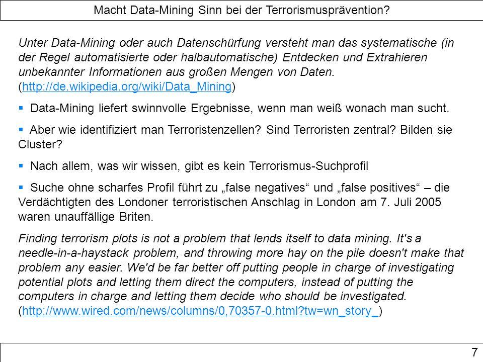 Macht Data-Mining Sinn bei der Terrorismusprävention