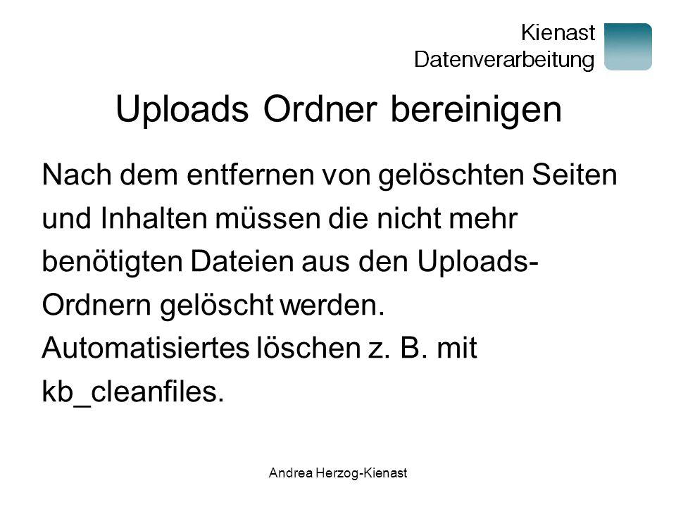 Uploads Ordner bereinigen