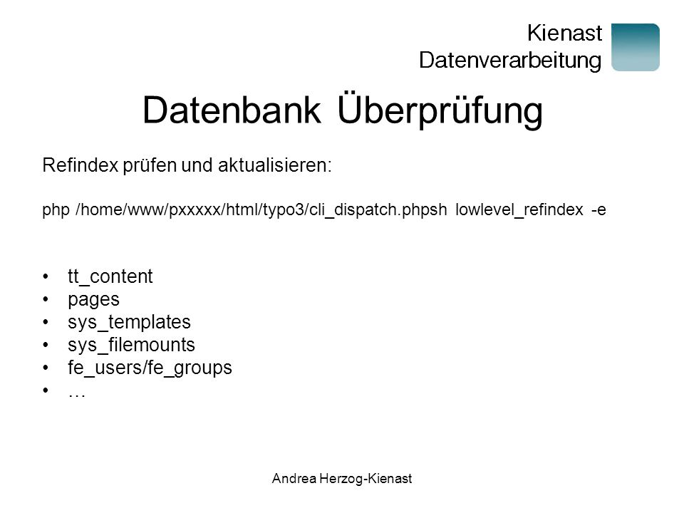 Datenbank Überprüfung