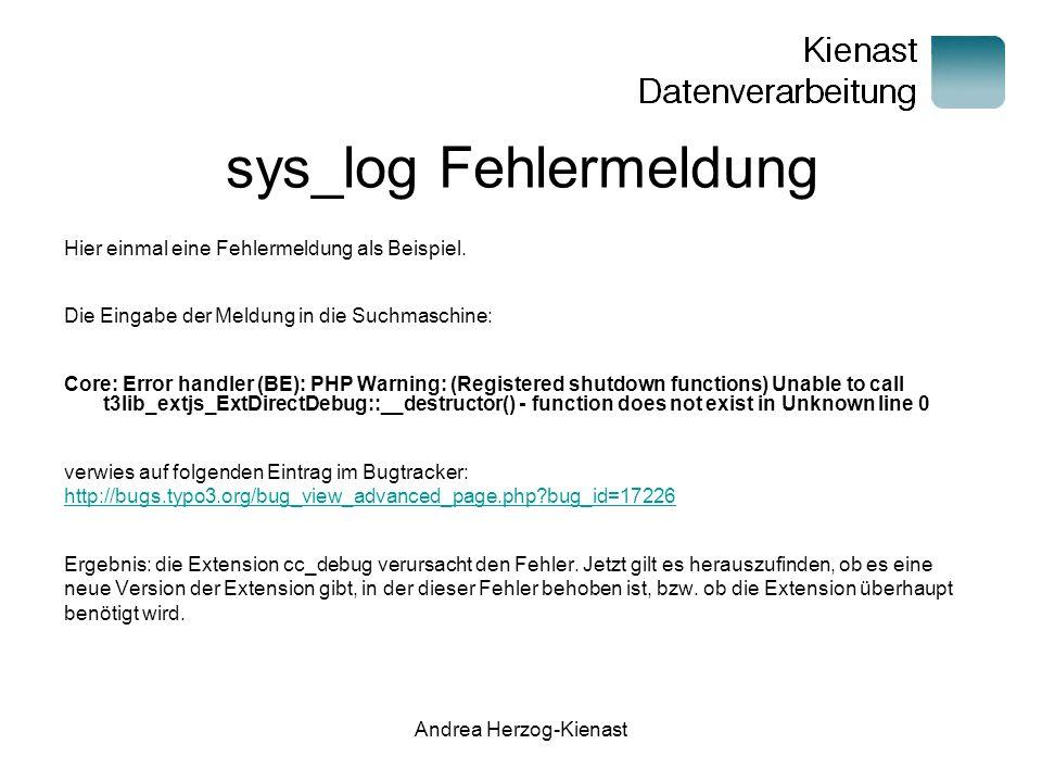 sys_log Fehlermeldung