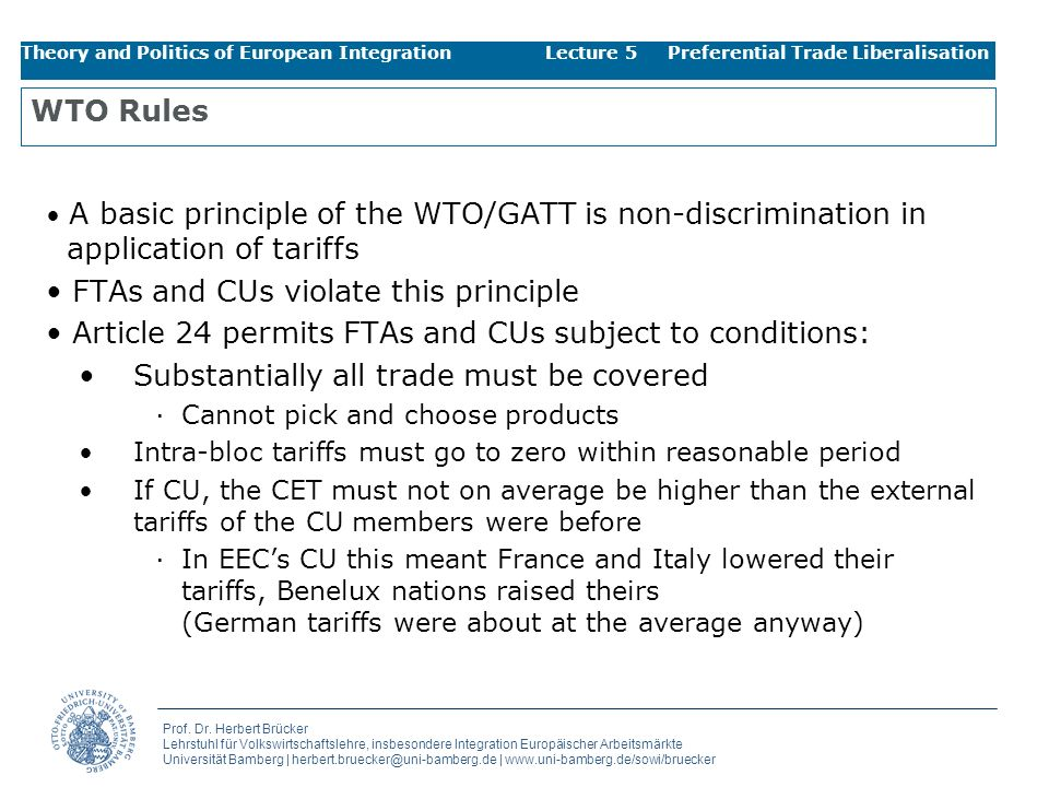 FTAs and CUs violate this principle