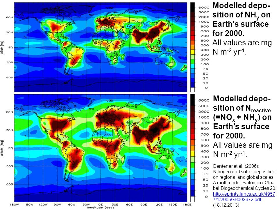 Modelled depo-sition of NHy on Earth s surface for 2000.