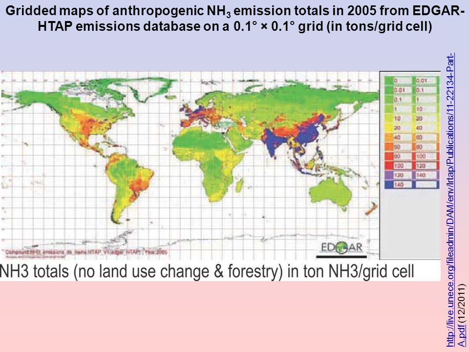 Gridded maps of anthropogenic NH3 emission totals in 2005 from EDGAR-HTAP emissions database on a 0.1° × 0.1° grid (in tons/grid cell)