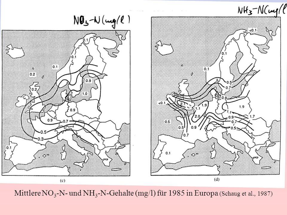 Mittlere NO3-N- und NH3-N-Gehalte (mg/l) für 1985 in Europa (Schaug et al., 1987)