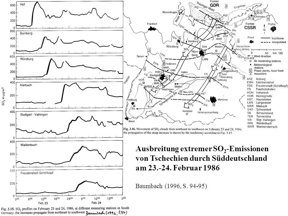 Ausbreitung extremer SO2-Emissionen von Tschechien durch Süddeutschland am 23.-24. Februar 1986