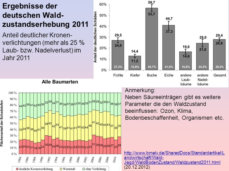 Ergebnisse der deutschen Wald-zustandserhebung 2011