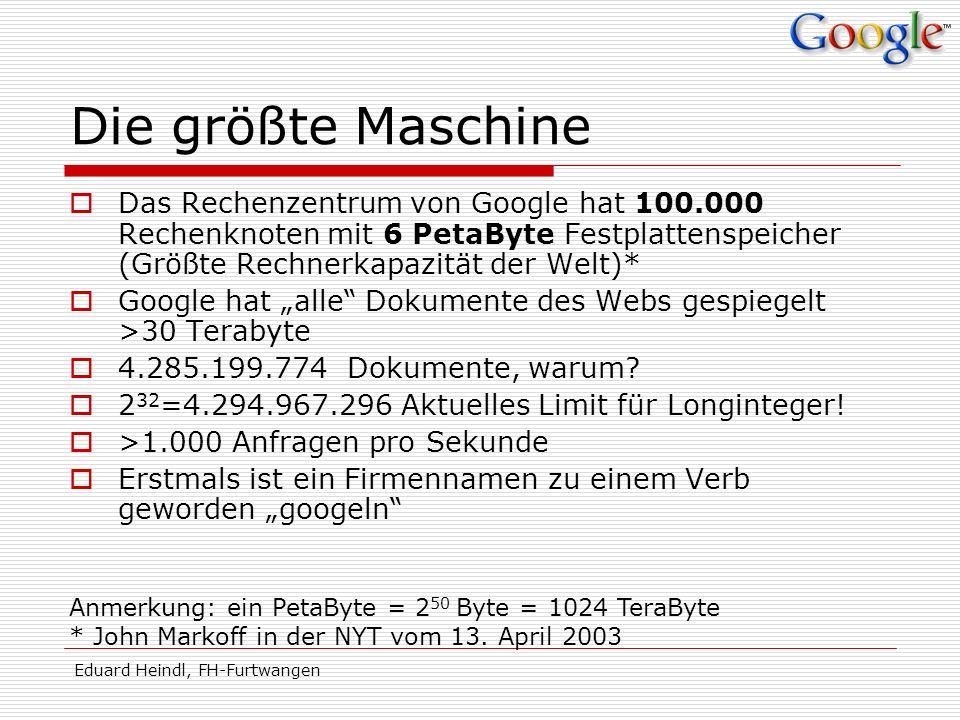 Die größte Maschine Das Rechenzentrum von Google hat 100.000 Rechenknoten mit 6 PetaByte Festplattenspeicher (Größte Rechnerkapazität der Welt)*