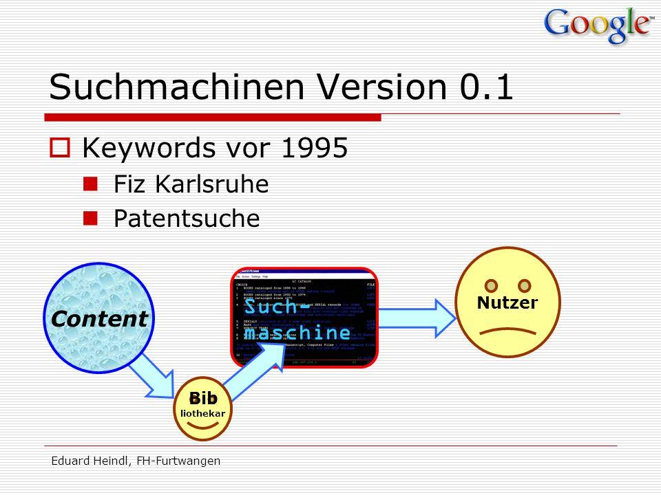 Suchmachinen Version 0.1 Keywords vor 1995 Fiz Karlsruhe Patentsuche