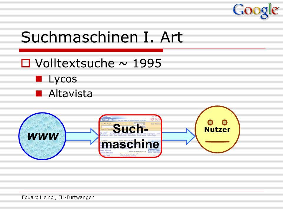 Suchmaschinen I. Art Such- maschine Volltextsuche ~ 1995 Lycos