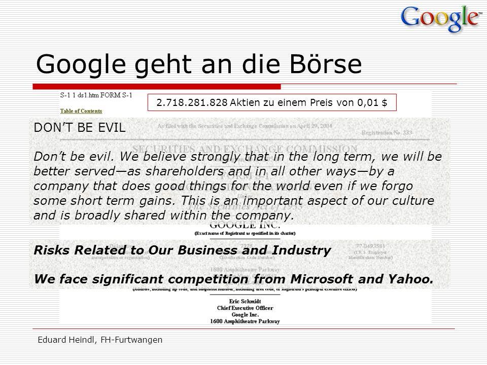Google geht an die Börse