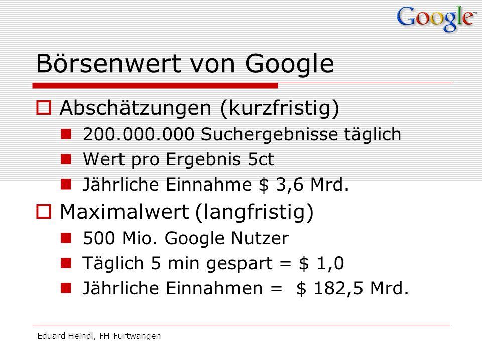 Börsenwert von Google Abschätzungen (kurzfristig)