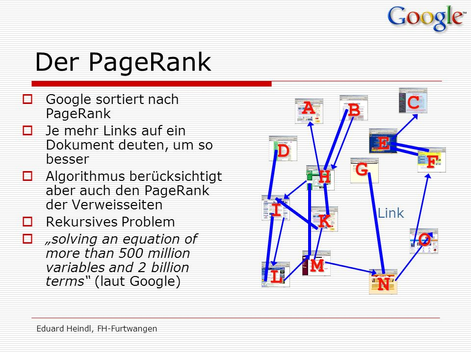 Der PageRank C A B E D F G H I K O M L N Google sortiert nach PageRank
