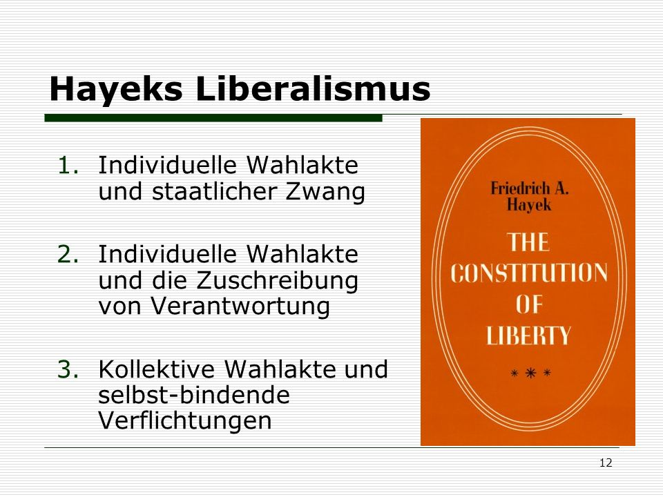 Hayeks Liberalismus Individuelle Wahlakte und staatlicher Zwang