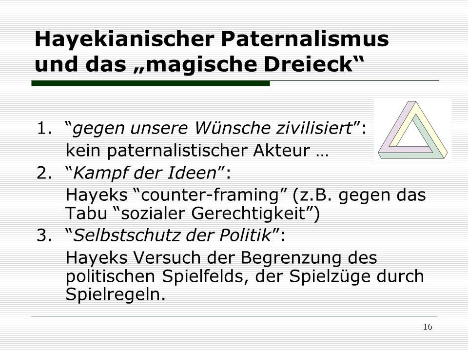 """Hayekianischer Paternalismus und das """"magische Dreieck"""