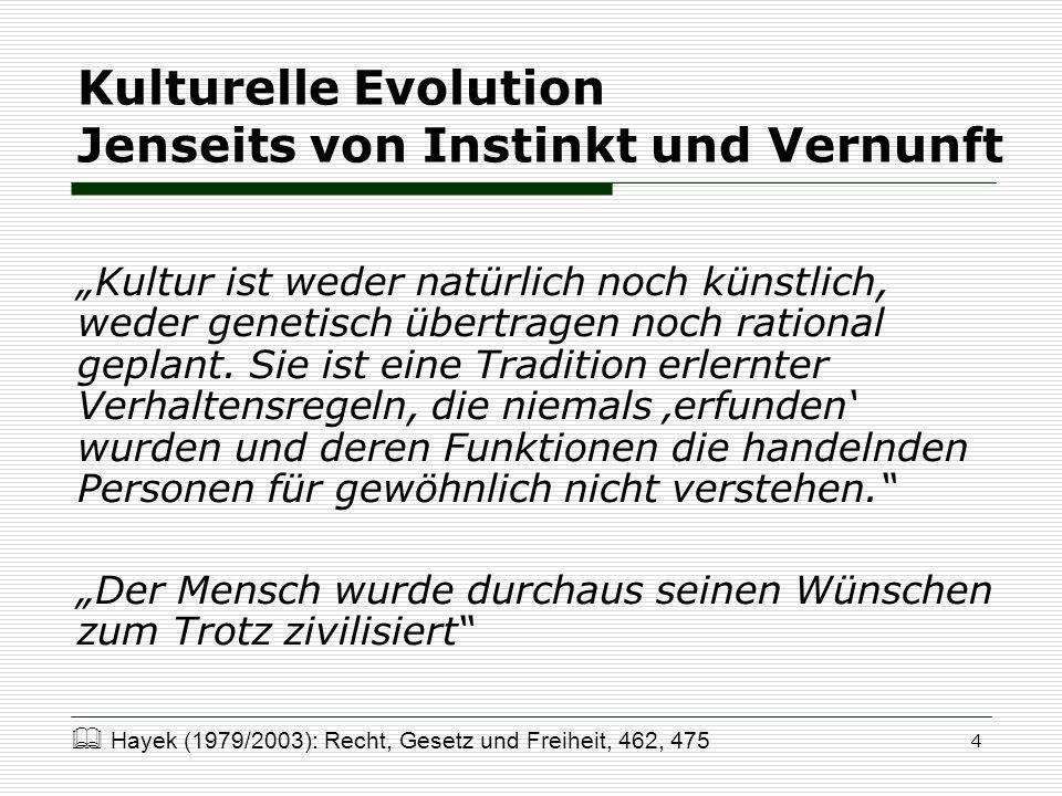 Kulturelle Evolution Jenseits von Instinkt und Vernunft