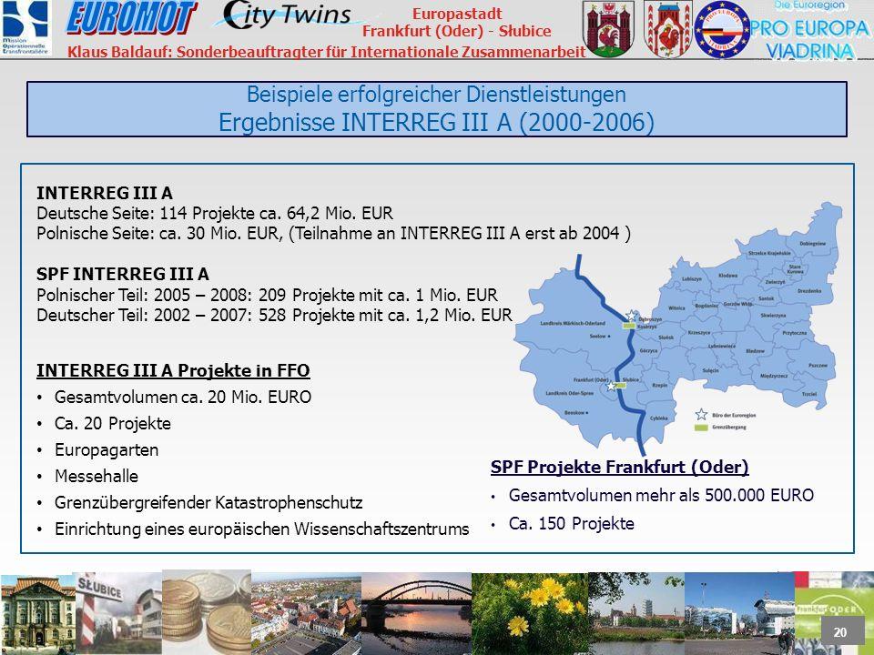 Beispiele erfolgreicher Dienstleistungen Ergebnisse INTERREG III A (2000-2006)
