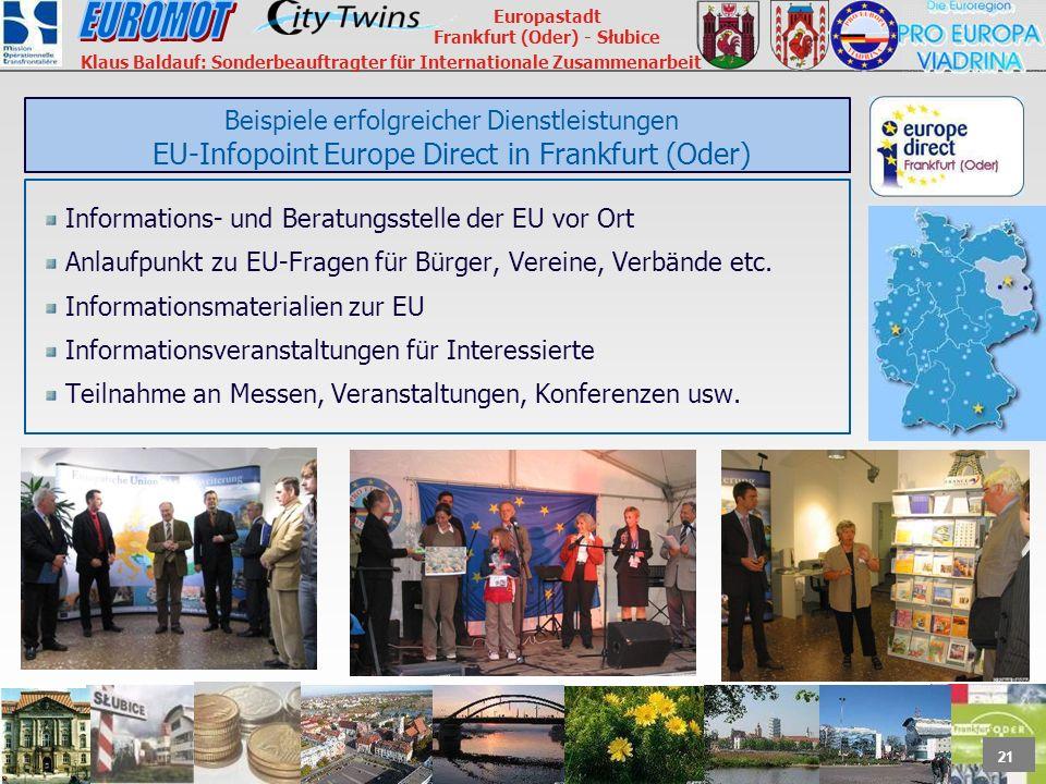 Beispiele erfolgreicher Dienstleistungen EU-Infopoint Europe Direct in Frankfurt (Oder)