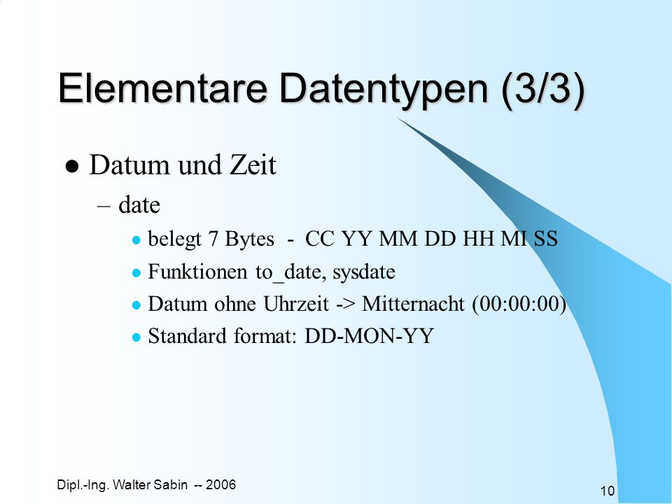 Elementare Datentypen (3/3)