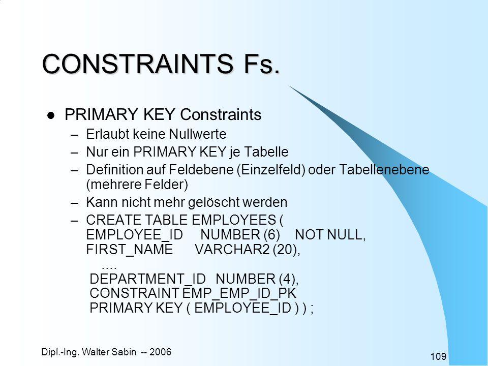 CONSTRAINTS Fs. PRIMARY KEY Constraints Erlaubt keine Nullwerte