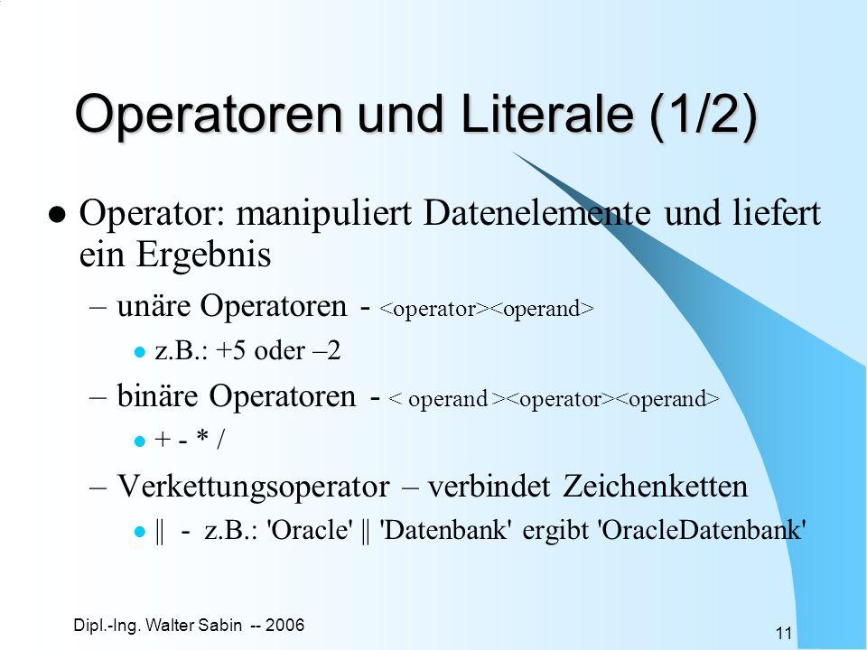 Operatoren und Literale (1/2)