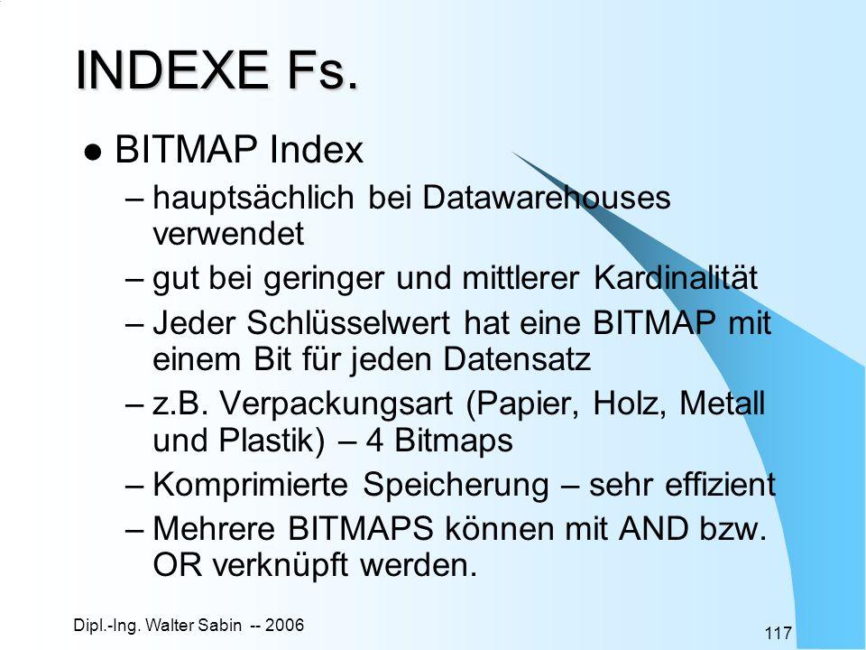INDEXE Fs. BITMAP Index hauptsächlich bei Datawarehouses verwendet