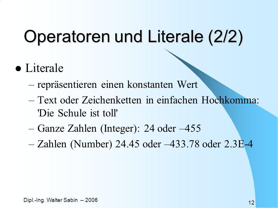 Operatoren und Literale (2/2)