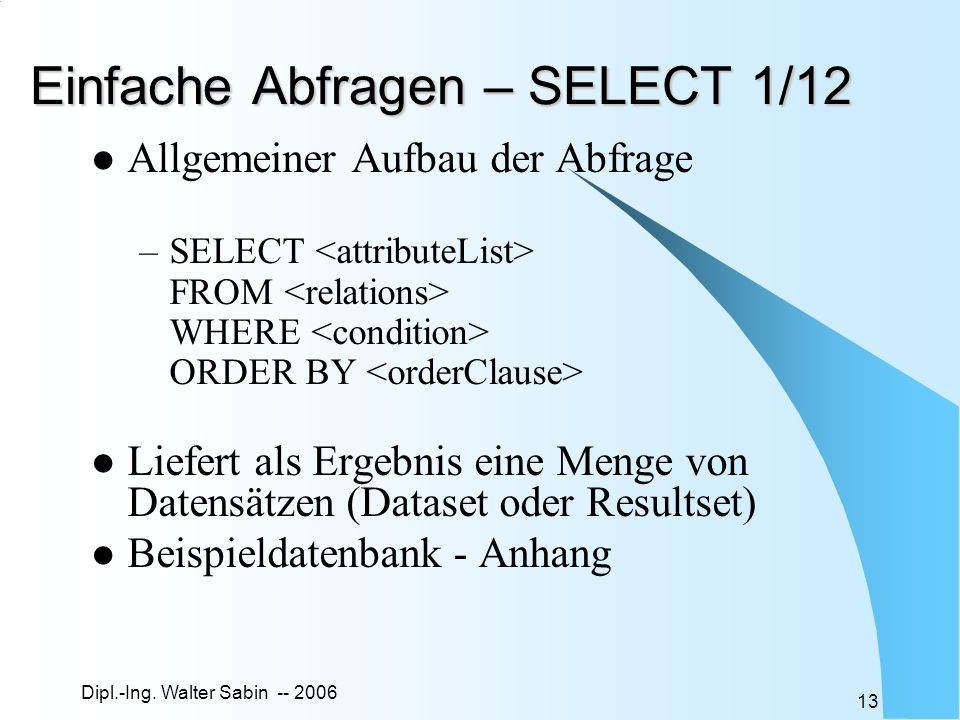Einfache Abfragen – SELECT 1/12