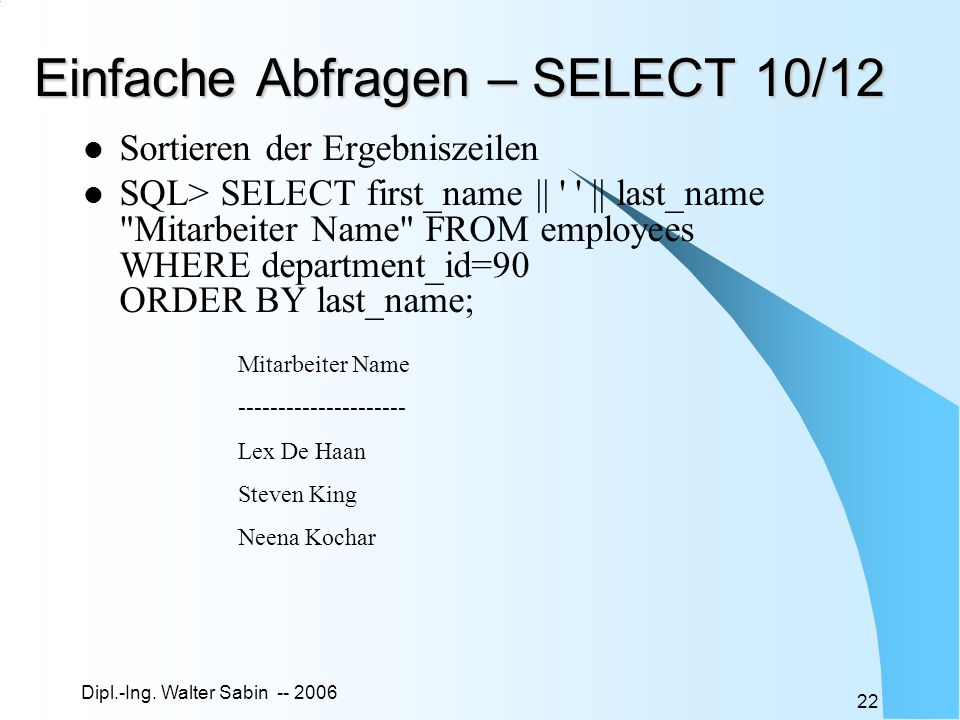 Einfache Abfragen – SELECT 10/12
