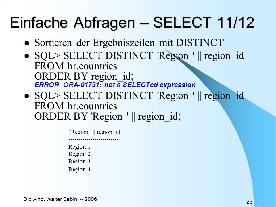 Einfache Abfragen – SELECT 11/12