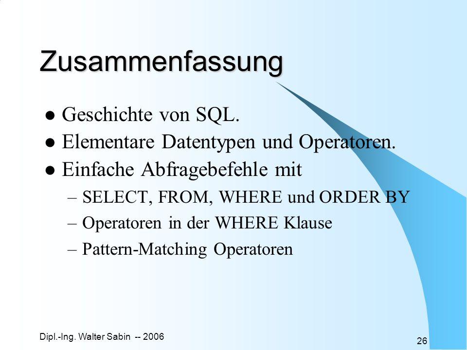 Zusammenfassung Geschichte von SQL.