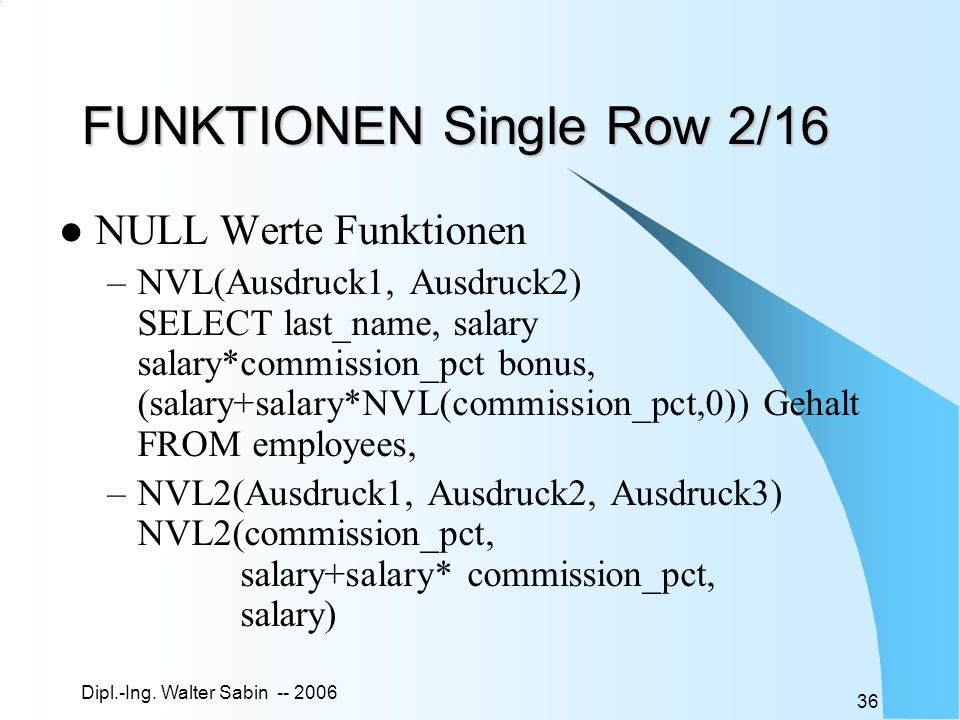 FUNKTIONEN Single Row 2/16