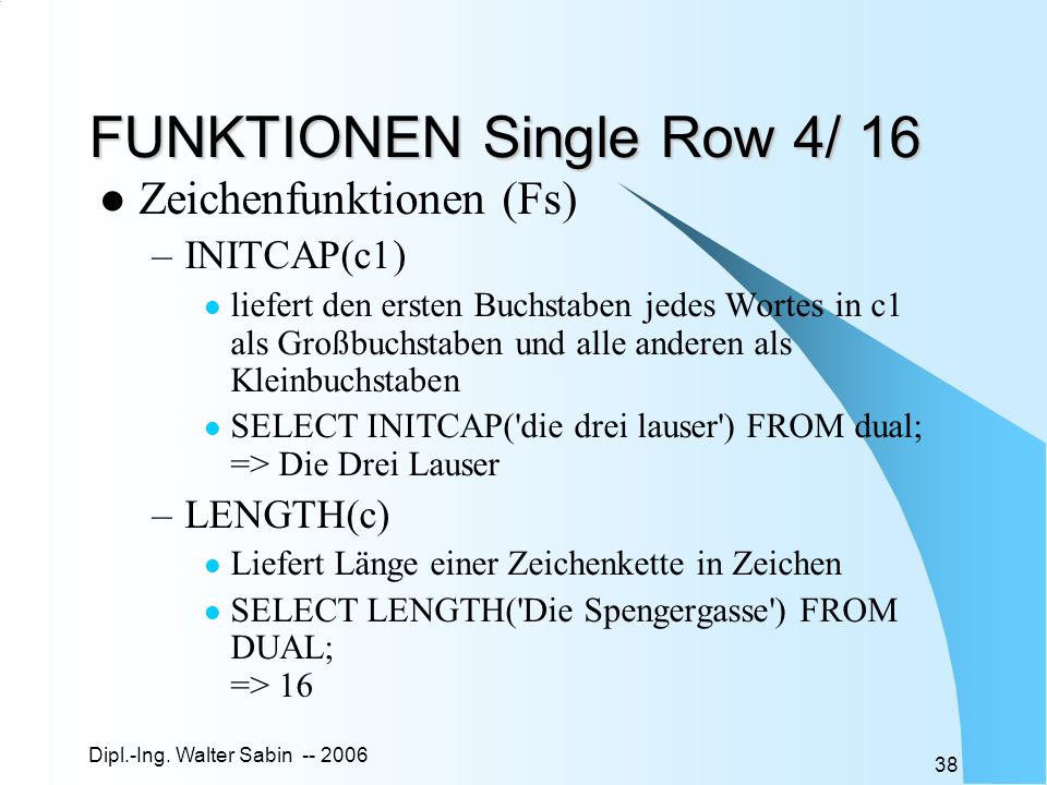 FUNKTIONEN Single Row 4/ 16