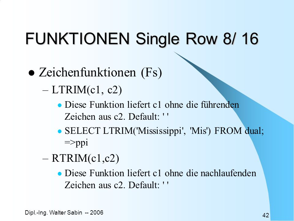 FUNKTIONEN Single Row 8/ 16